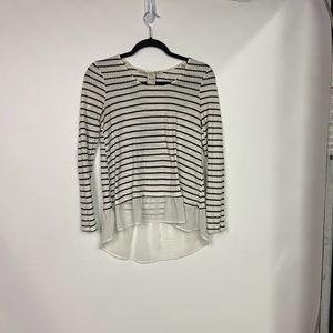 AMERICAN RAG Women's Sm White/Black Striped Shirt